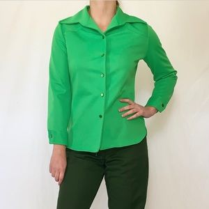 Vintage 1960s Lime Green Button Down Shirt